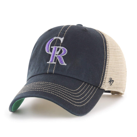 7157f11209d Shop Colorado Rockies 47 Brand Black Trawler Clean Up Mesh Snapback Slouch  Hat Cap