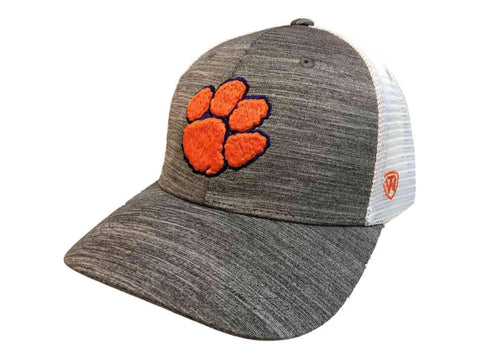 "Clemson Tigers TOW Gray w White Mesh ""Warmup"" Structured Snapback Hat Cap"