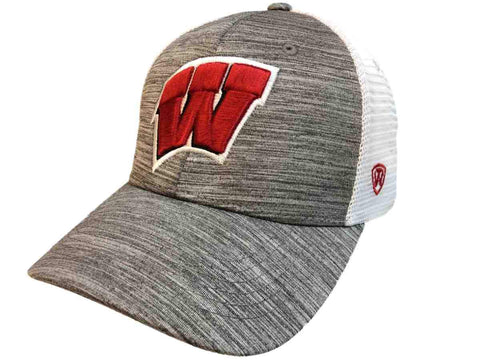 "Wisconsin Badgers TOW Gray w White Mesh ""Warmup"" Structured Snapback Hat Cap"