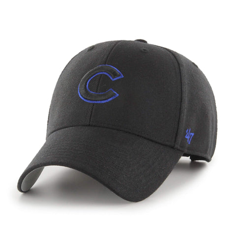 e96eeb90fcc Chicago Cubs 47 Brand MVP Black Wool Structured Adjustable Strap Hat Cap