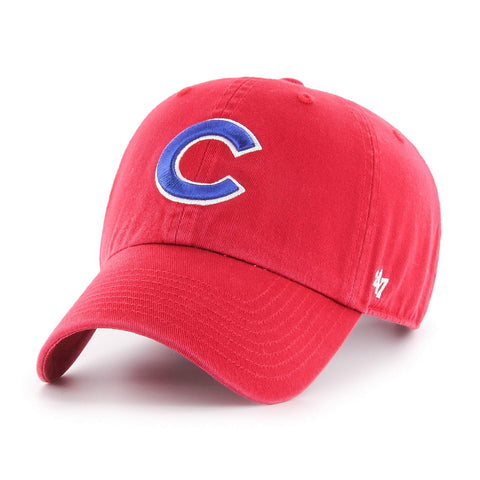 Chicago Cubs 47 Brand Red Clean Up Adjustable Strapback Slouch Relax Hat Cap 277e7d4e7