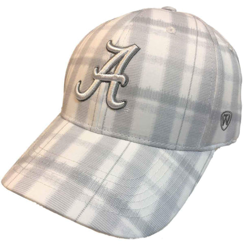 "Alabama Crimson Tide TOW White Gray Plaid ""Par"" Style Structured Flexfit Hat Cap"