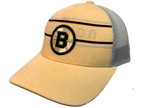 Boston Bruins Adidas Pastel Yellow CCM Vintage Mesh Structured Snapback Hat Cap