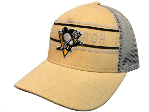Pittsburgh Penguins Adidas Yellow CCM Vintage Mesh Structured Snapback Hat Cap