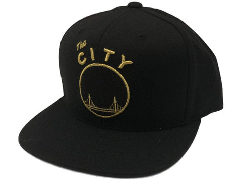 Golden State Warriors Mitchell & Ness Black & Gold Snapback Flat Bill Hat Cap