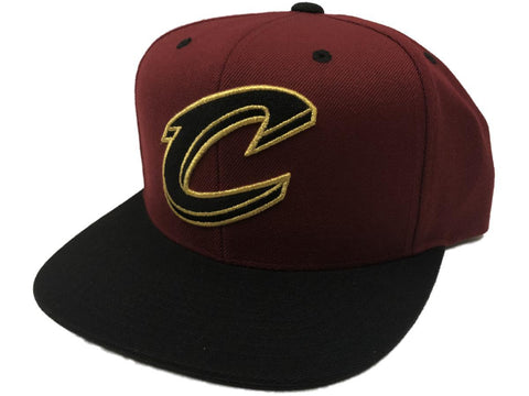 Cleveland Cavaliers Mitchell & Ness Red Wine & Black Snapback Flat Bill Hat Cap