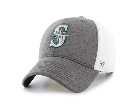 Shop Seattle Mariners 47 Brand Two-Tone Haskell MVP Mesh Structured Adj. Hat Cap