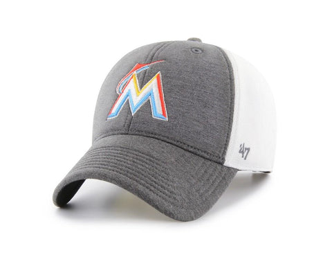 Shop Miami Marlins 47 Brand Two-Tone Haskell MVP Mesh Structured Adj. Hat Cap