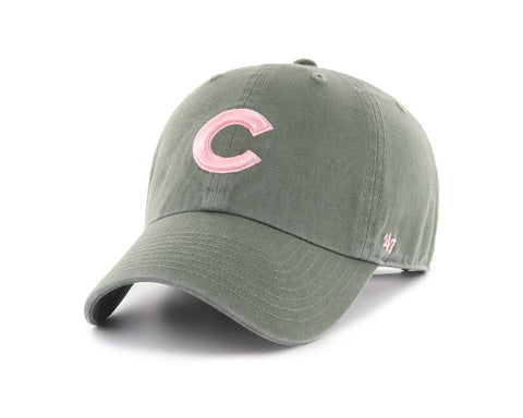 Shop Chicago Cubs 47 Brand WOMEN'S Moss Green Clean Up Adj. Strapback Slouch Hat Cap - Sporting Up