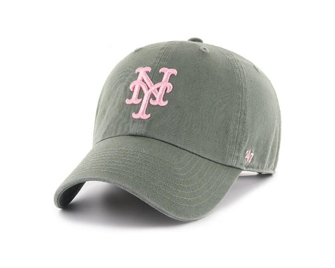 Shop New York Mets 47 Brand WOMEN'S Moss Green Clean Up Adj. Strapback Slouch Hat Cap - Sporting Up