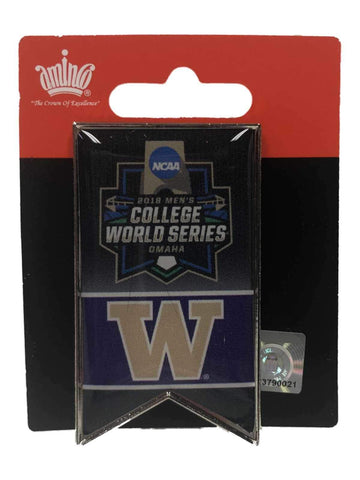 41f554294c0de0 Washington Huskies 2018 NCAA College World Series CWS Aminco Banner Lapel  Pin