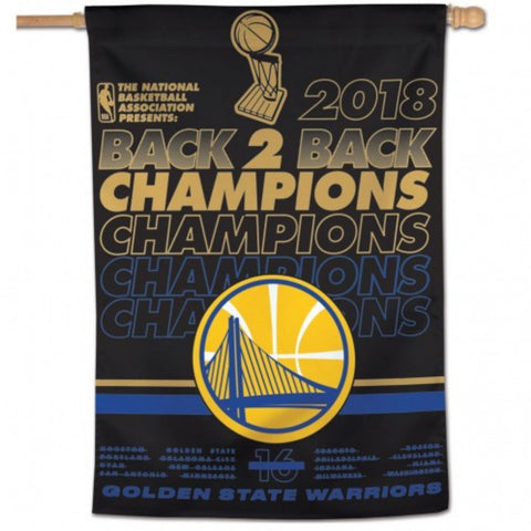 Golden State Warriors 2018 NBA Finals Champions Back to Back Vertical Flag