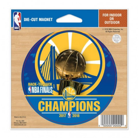 Golden State Warriors 2018 NBA Finals Champions Trophy Round Die-Cut Magnet