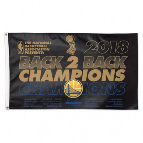 Golden State Warriors 2018 NBA Finals Champions Back to Back Deluxe Flag