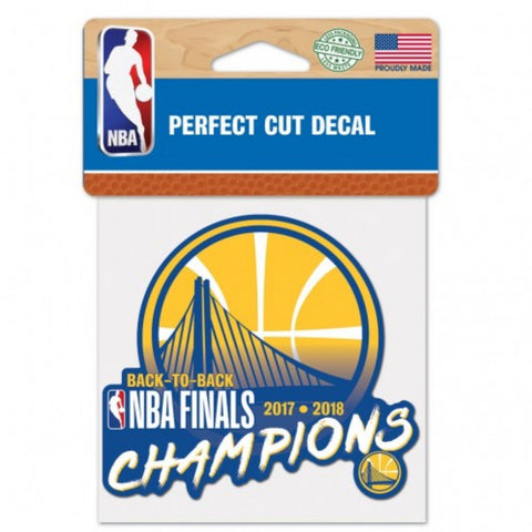 "Golden State Warriors 2018 NBA Finals Champions Perfect Cut Decal (4"" x 4"")"