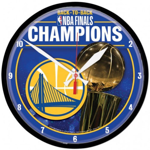 Golden State Warriors 2018 NBA Finals Champions Back to Back Round Wall Clock