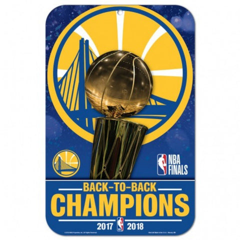 Golden State Warriors 2018 NBA Finals Champions Back to Back Styrene Sign