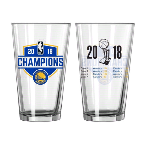 Golden State Warriors 2018 NBA Finals Champions Boelter Game Scores Pint Glass