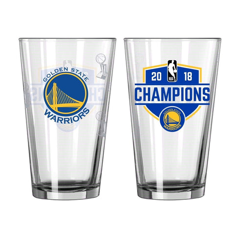 Golden State Warriors 2018 NBA Finals Champions Boelter Satin Etch Pint Glass