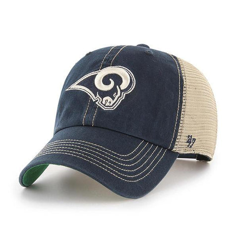 Los Angeles Rams 47 Brand Navy Trawler Clean Up Mesh Snapback Slouch Hat Cap