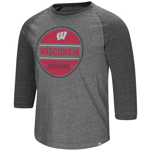 Wisconsin Badgers Colosseum Two-Tone Gray Ultra Soft 3/4 Sleeve Raglan T-Shirt