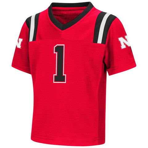 "Nebraska Cornhuskers Colosseum TODDLER Boy's Red ""Foos-Ball"" #1 Football Jersey"