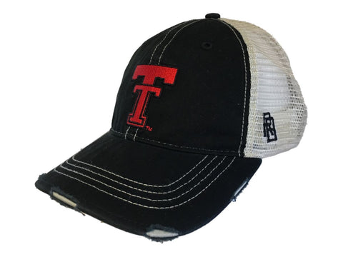 Texas Tech Red Raiders Retro Brand Black Vintage Worn Mesh Back Snapback Hat Cap