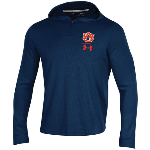 Auburn Tigers Under Armour Navy 1/4 Zip Up Loose Sideline Waffle Hoodie Pullover
