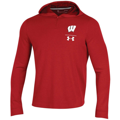 Wisconsin Badgers Under Armour Red 1/4 Zip Loose Sideline Waffle Hoodie Pullover