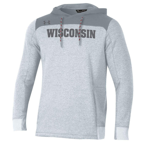 Wisconsin Badgers Under Armour Gray ColdGear Loose Sideline Hoodie Sweatshirt