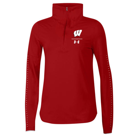 Wisconsin Badgers Under Armour WOMEN'S Red 1/2 Zip HeatGear Sideline Pullover