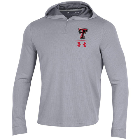 Texas Tech Red Raiders Under Armour Gray 1/4 Zip Sideline Waffle Hoodie Pullover