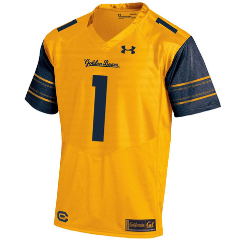 Cal Bears Under Armour Gold #1 HeatGear Loose Sideline Replica Football Jersey