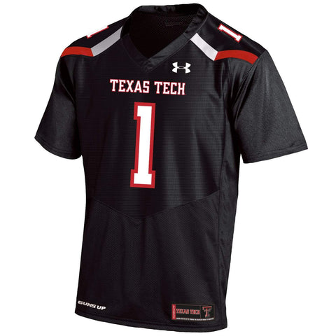 Texas Tech Red Raiders Under Armour Black #1 Sideline Replica Football Jersey