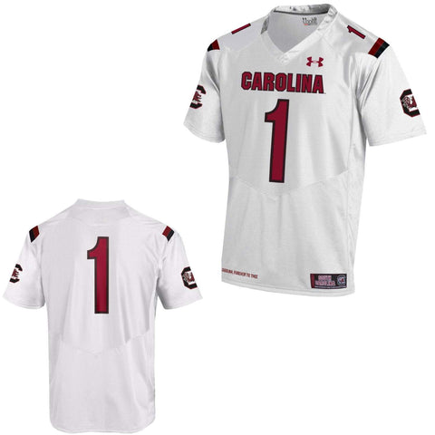 South Carolina Gamecocks Under Armour White #1 Sideline Replica Football Jersey