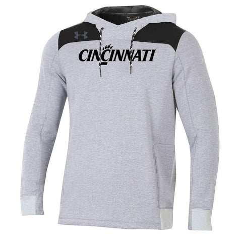 Cincinnati Bearcats Under Armour Gray ColdGear Loose Sideline Hoodie Sweatshirt