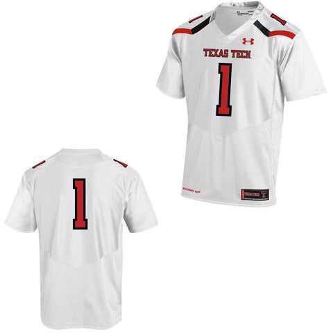 Texas Tech Red Raiders Under Armour White #1 Sideline Replica Football Jersey