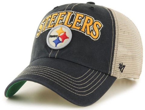 Pittsburgh Steelers 47 Brand Vintage Black Tuscaloosa Mesh Adj. Slouch Hat Cap - Sporting Up