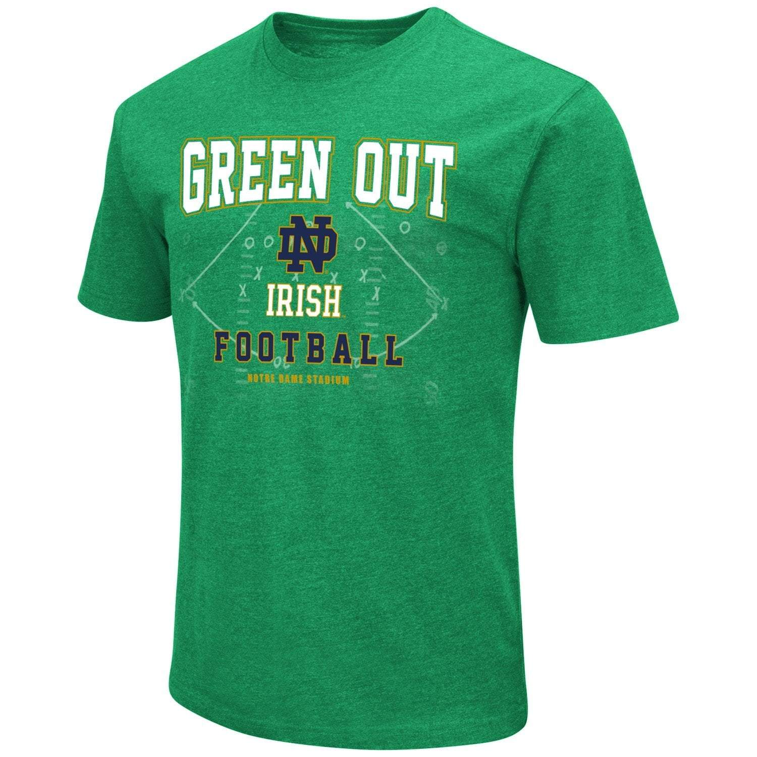 """Notre Dame Fighting Irish Colosseum Kelly Green Football """"Green Out"""" T-Shirt - L / Green"""