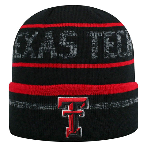 "Texas Tech Red Raiders TOW Black Striped ""Effect"" Style Cuffed Knit Beanie Cap"