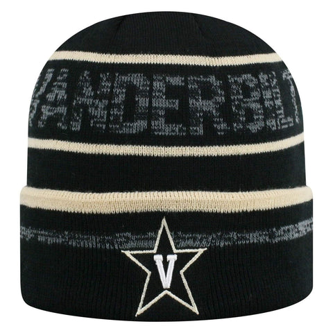 "Vanderbilt Commodores TOW Black Striped ""Effect"" Style Cuffed Knit Beanie Cap"