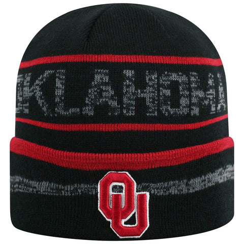 "Oklahoma Sooners TOW Black Striped ""Effect"" Style Cuffed Knit Beanie Cap"