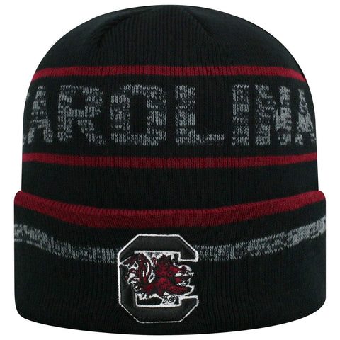 "South Carolina Gamecocks TOW Black Striped ""Effect"" Style Cuffed Knit Beanie Cap"