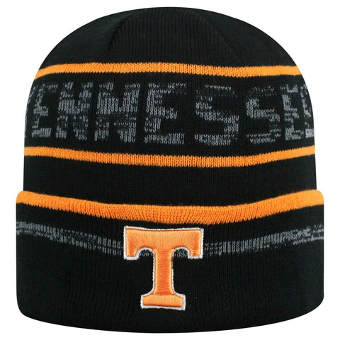 "Tennessee Volunteers TOW Black Striped ""Effect"" Style Cuffed Knit Beanie Cap"