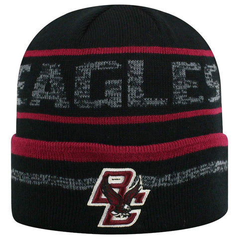 "Boston College Eagles TOW Black Striped ""Effect"" Style Cuffed Knit Beanie Cap"