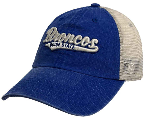 "Boise State Broncos TOW Blue ""Raggs"" Mesh Script Logo Snapback Slouch Hat Cap"