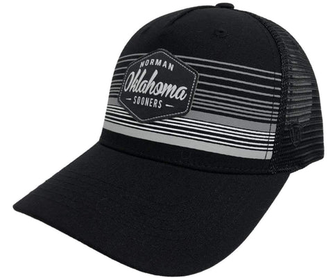 "Oklahoma Sooners TOW Black ""Frequency"" Patch Logo Mesh Snapback Hat Cap"