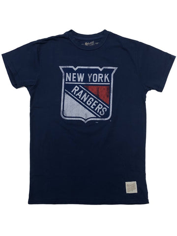 New York Rangers Retro Brand Blue Vintage Hockey Soft Short Sleeve T-Shirt