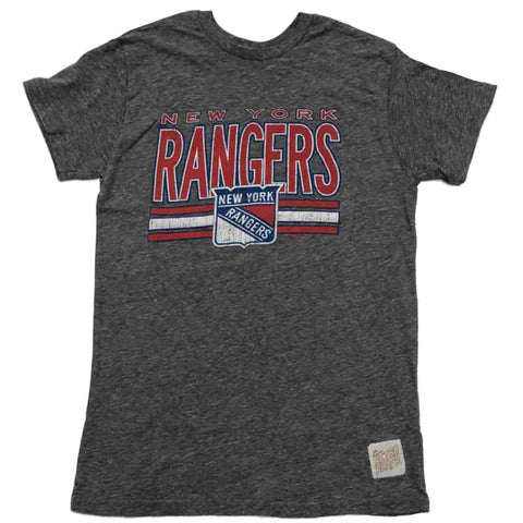 New York Rangers Retro Brand Gray Soft Vintage Tri-Blend Short Sleeve T-Shirt