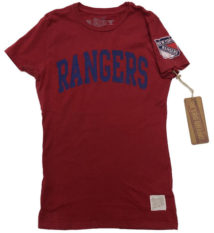 New York Rangers Retro Brand WOMEN Red Soft Cotton Capped Sleeve T-Shirt